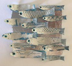 """Collage de poissons argent - 5 x 5"""" oeuvres d'art originales dans une boîte cadeau"""