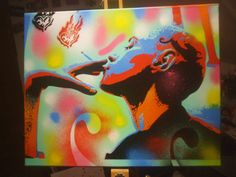 painting of woman with tattooed by AbstractGraffitiShop on Etsy, $90.00