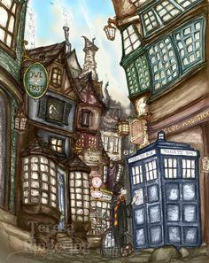 Harry Potter meets the Doctor - Fantasy Art Print by Teresa Ringering - free… Harry Potter Illustrations, Harry Potter Drawings, Harry Potter Room, Harry Potter Facts, Harry Potter Fan Art, Harry Potter Movies, Harry Potter World, Lestrange Harry Potter, Bellatrix Lestrange
