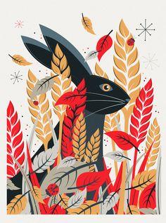 Woodland illustration, easter illustration, nature prints, folk art, neil s Rabbit Illustration, Illustration Art, Animal Illustrations, Woodland Illustration, Technical Illustration, Nature Prints, Art Prints, Posca Art, Art Watercolor