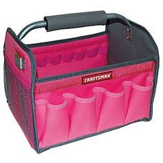 Craftsman 12 inch Tool Tote…Pink tool box will be great for carrying nail poli… Craftsman 12 inch Tool Tote…Pink tool box will be great for carrying nail polish and accessories…can be purchased at Sears Diy Makeup Storage, Makeup Organization, Storage Organization, Storage Ideas, Classroom Organization, Calendar Organization, Studio Organization, Organizing Tips, Organising