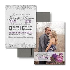 Rose Wedding Invitations, Purple Wedding Invitations, White Wedding Invitations, Elegant Wedding Invitations
