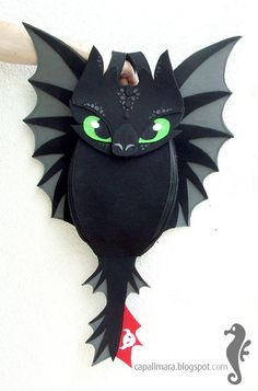 Backpack Toothless - funny, cute black dragon - felt - wings - for fan - how to train your dragon - MADE TO ORDER on Etsy, $100.00