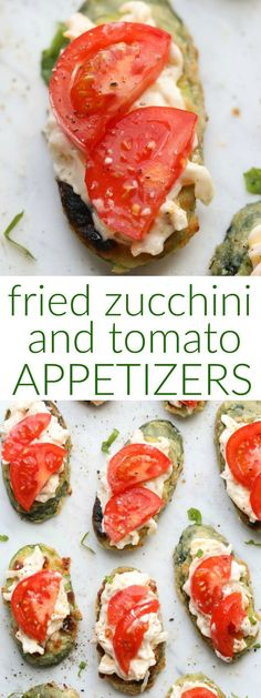 Fried Zucchini Tomato Recipe for a quick appetizers. Fried zucchini slices topped with a garlic mayo spread and topped with tomatoes. #zucchini #friedzucchini #tomatoes #appetizers