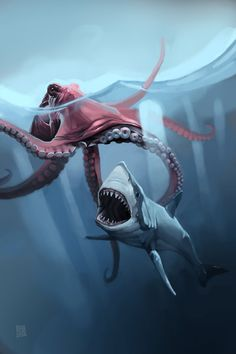 Giant Octopus by sebtuch on DeviantArt Scary Sea Creatures, Mystical Creatures Drawings, Sea Creatures Drawing, Creature Drawings, Prehistoric Creatures, Octopus Drawing, Shark Drawing, Octopus Art, Cute Shark