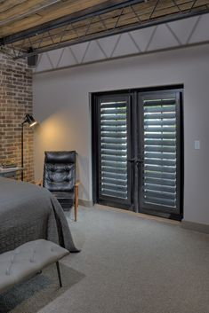 Doors often present design challenges. Custom shutters are the ideal solution, allowing privacy and light control with smooth functionality. Bifold French Doors, Black French Doors, French Doors Patio, French Patio, Patio Doors, White Interior Doors, Interior Shutters, Interior Paint, Best Home Interior Design