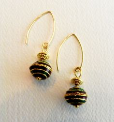 #jewelryforher A personal favorite from my Etsy shop https://www.etsy.com/in-en/listing/237677655/cloisonne-mina-dangly-red-green-earrings
