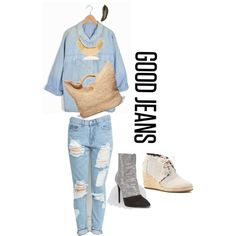 #denimondenim by tiffanybertharia-fanbert on Polyvore featuring Giuseppe Zanotti, TOMS and MANGO