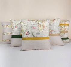 Set of 5 World Map Linen pillow covers designed with twill ribbons-Decorative Cushion Case - Linen and Cotton Pillow Cover-Linen Home Decor