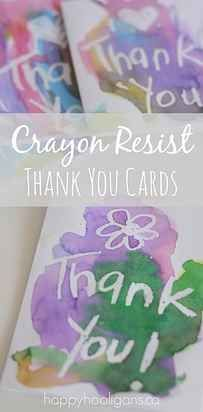 31 Genius Hacks For Your Elementary School Art Class:  Crayon Resist DIY Thank You Cards