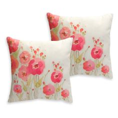 Melrose International Square Flower Decorative Throw Pillow - Set of 2