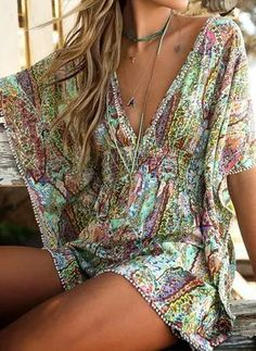 Swim cover · summer dresses · summer outfits · behati prinsloo – victoria's secret photoshoots 2015 - the best videos and photoshoots moda outfits, Mode Hippie, Mode Boho, Hippie Style, Hippie Chic, Hippie Bohemian, Behati Prinsloo, Boho Mini Dress, Summer Outfits, Summer Dresses