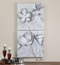 Uttermost Florals in Black and White Art S/2
