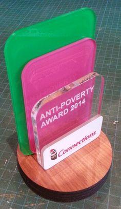 Wood ~ acrylic award Laser cut. Engraved. Printed. MyChoice@Firebridge