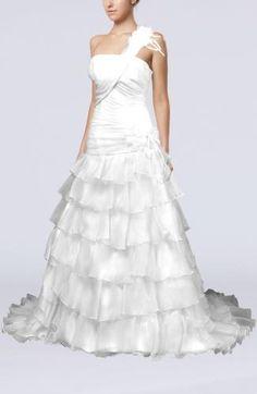 Organza Strapless Elegant Bridal Gowns - Order Link: http://www.theweddingdresses.com/organza-strapless-elegant-bridal-gowns-twdn6244.html - Embellishments: Ruffles , Flower , Ruching , Tiered; Length: Chapel Train; Fabric: Organza; Waist: Dropped - Price: 216.99USD