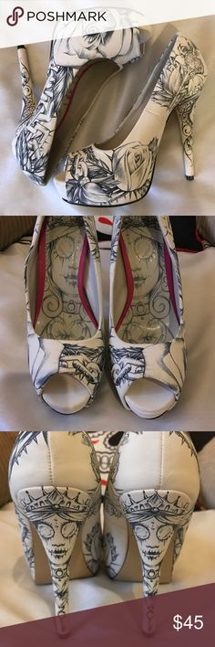 Iron Fist Latisha Wood Tattoo Art Heels  These shoes are so perfect! They are by Iron Fist and adorned with artwork by tattoo artist Latisha Wood. I bought these to go with my wedding dress, but I ended up buying an off white dress and couldn't use these. They have never been worn and are in perfect condition. Iron Fist Shoes Heels
