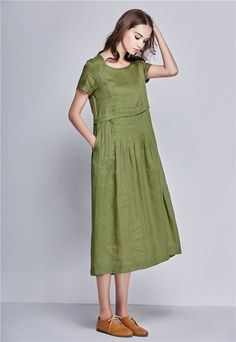 luxurious pleated long linen dress for women.  【Details】 1. handmade pleated creates a very special look. 2. short sleeved. 3. Two pockets 4. ruffle pleats on back 5. handmade and good quiality fabric 6. so flattering bottom You wont find this in mass products. We cut and weave them by hand. linen is never out of fashion. and it shows a high end taste.  【Buyers Comment】 ~~wgombert says: ABSOLUTELY BEAUTIFUL! You will not be disappointed ... creative and elegant!  【Fabric】 Green/Pink/Pale…