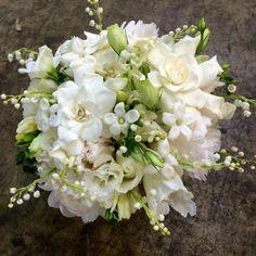 White Gardenias, White Lisianthus & Buds, White Roses, White Fringed Tulips, White Stephanotis & Lily Of The Valley Wedding Bouquet××××