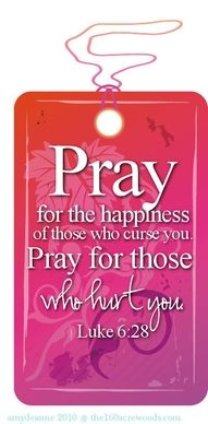 #Pray for the happiness of those who curse you, pray for those who hurt you...Luke 6:28