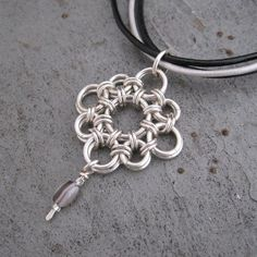 Chainmaille Pendant with Agate Drop