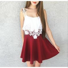 Love this outfit from @vanniechuong? Get this Lady Maroon Skater Skirt at $15 from #iwearsin! Free US delivery. Limited stocks left only ❤
