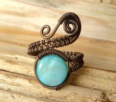 Teal Mother of pearl MOP Adjustable Copper wire wrapped ring by PillarOfSaltStudio