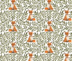 Fox and Leaves by bluebirdcoop