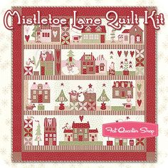 Mistletoe Lanefabric from Bunny Hill & Moda fabrics, designed especially for this quilt. MISTLETOE LANE by Bunny Hill Designs. Our pattern includes a color fabric guide, color photos and full size drawings. Christmas Applique, Block Of The Month, Quilt Sizes, Applique Quilts, Quilting Projects, Quilting Ideas, Quilt Top, Mistletoe, Fabric Patterns