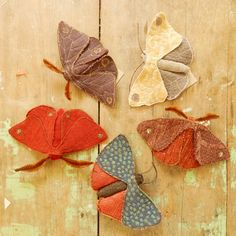 Recycled fabric moths - set of 5, eco friendly brooch, unique textile art, soft sculpture. $175.00, via Etsy.