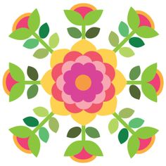 A profusion of flowers ring a beautiful Rose of Sharon. Applique Quilt Patterns, Barn Quilt Patterns, Applique Templates, Hand Applique, Mosaic Patterns, Applique Designs, Quilting Projects, Quilting Designs, Flower Quilts