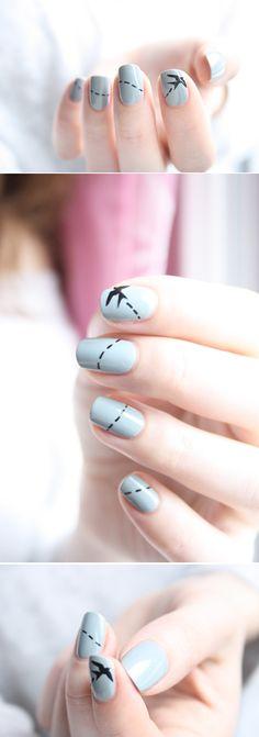 Bird in flight nail art