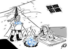 Bitter cold in Syrian refugee camps. Cartoon by Ramzy Taweel.