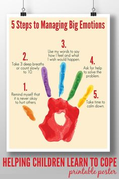 Steps to Managing Big Emotions: Printable Poster A calm down plan to help children of all ages learn to manage big emotions in socially acceptable ways.A calm down plan to help children of all ages learn to manage big emotions in socially acceptable ways. Behaviour Management, Classroom Management, Anger Management Activities For Kids, Self Management For Kids, Stress Management, Anger Management Techniques, Social Work Activities, Coping Skills Activities, Art Therapy Activities