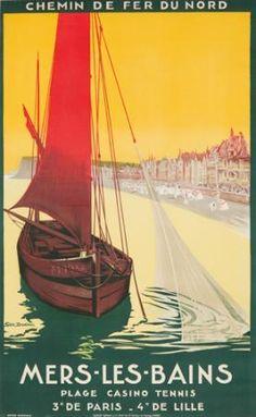 Mers les Bains, Plage de Lille - Vintage travel beach poster France #affiche #beach #essenzadiriviera   www.varaldocosmetica.it/en
