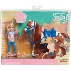 NEW Dreamworks Spirit Riding Free Abigail & Boomerang Horse Figures Barbie Horse, Set Honey, Barrel Racing Horses, Horse Show Clothes, Show Horses, Race Horses, Lol Dolls, Horse Girl, Collector Dolls