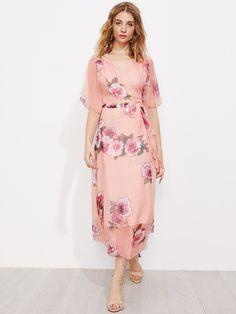 Surplice Front Tie Waist Floral Dress -SheIn(Sheinside)