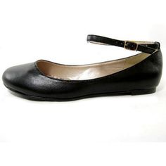 Flat black shoes with ankle strap