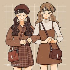 Felt like drawing these cute outfits I found online! 🐻💜 i modified some parts to my liking. I always wanted to try using shades of brown and I'm glad I did! Which fit is your favorite? Arte Do Kawaii, Kawaii Art, Cartoon Art Styles, Cute Art Styles, Kawaii Drawings, Cute Drawings, Arte Copic, Arte Indie, Japon Illustration