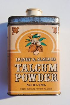 Vintage Honey and Almond Talcum Powder Tin via Etsy.