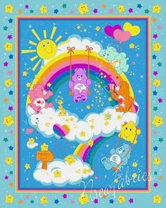 Care Bear Fabric Paint a Rainbow Quilt Panel for Quilting - Blanket - Wallhanging etc...
