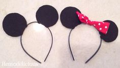 Easy, budget friendly DIY Minnie Mouse & Mickey Mouse Headbands - Perfect for Mickey or Minnie Mouse Clubhouse Themed Birthday Party Favors | Remodelicious