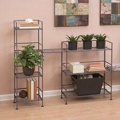 Seville Classics 4-Tier Square Wrought Iron Folding Shelf