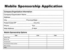 Image Result For Sponsorship Application Template  SissyS Angels