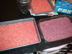 Colored rice krispies. Originally started as a new idea for Breast Cancer Awareness bake sale. We now have made every color almost using the regular neon drop good color at the grocery store. Super easy. Stir drops in marshmallows before u add cereal, makes your life a little faster.