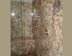 Granite Slab Shower and Tub Decks Natural Stone Countertops, Granite Slab, Small Bathroom, Master Bathroom, Bathrooms, Granite Shower, How To Install Countertops, Custom Cabinets, Tub