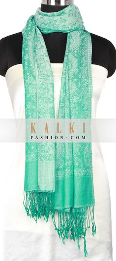 Buy Online from the link below. We ship worldwide (Free Shipping over US$100) http://www.kalkifashion.com/scarf-featuring-in-green-with-braded-tassel-only-on-kalki.html