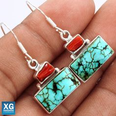 Lucky-Charm-Tibetan-Turquoise-925-Sterling-Silver-Earrings-Jewelry-SE48467