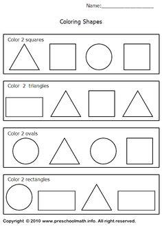 triangle worksheets preschool | Shapes Worksheets For For Preschool, Kindergarten, First Grade