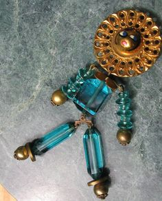 Glass Doll Brooch Rare Articulated Brooch by VintageSparkleyBits