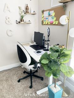 My Work From Home Office in the Bedroom Makeover   Arts and Classy Home Office Space, Home Office Design, Home Office Decor, Diy Home Decor, Office Ideas, Painting Shower, Shower Fixtures, Dinning Chairs, Cabinet Makeover